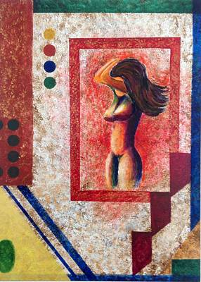 Painting - Nude  Girl In Frame  by Renate Voigt
