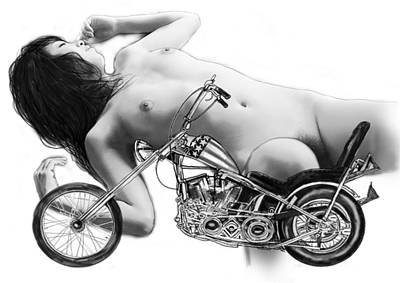 Nude Girl Drawing - Nude Girl With Motercycle- 3 by Kim Wang