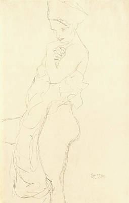 Etching Painting - Nude by Gustav Klimt