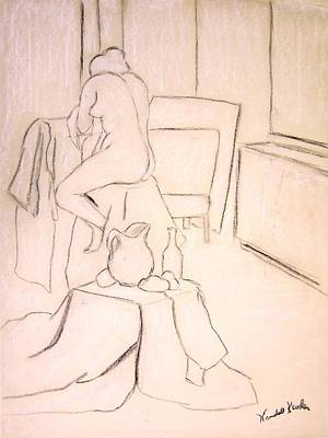Drawing - Nude Holding Her Shirt by Kendall Kessler