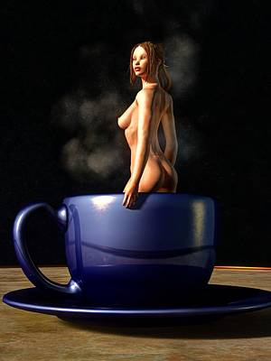 Digital Art - Nude In A Coffee Cup by Kaylee Mason
