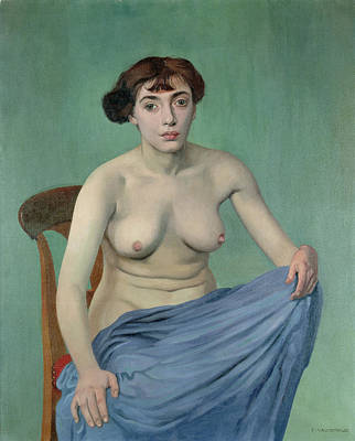 Lady In Blue Painting - Nude In Blue Fabric, 1912 by Felix Edouard Vallotton