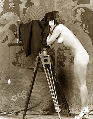 Nude In High Heel Shoes With Studio Camera Circa 1920 Art Print