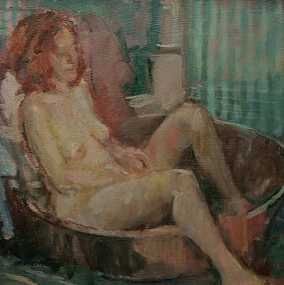 Bathing Photograph - Nude In Old Tub, 2008 Oil On Canvas by Pat Maclaurin