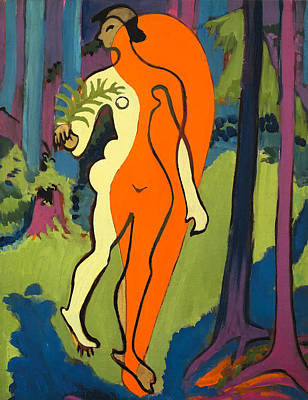 Alluring Painting - Nude In Orange And Yellow by Mountain Dreams