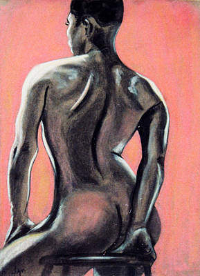 Pastel - Nude In Pink And Charcoal by Asha Carolyn Young