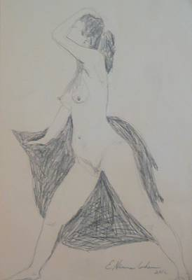 Drawing - Nude In Triangle by Esther Newman-Cohen