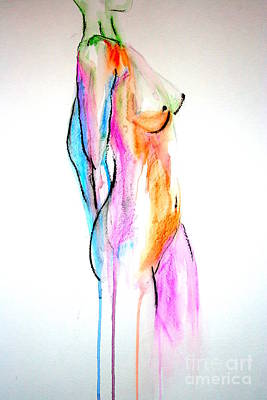 Frontal Nude Painting - Nude In Watercolor by Julie Lueders