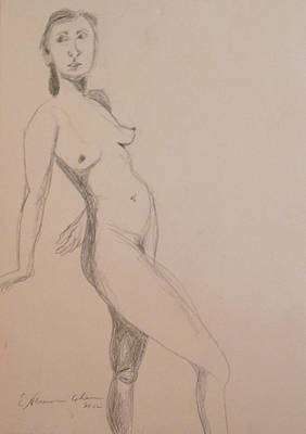 Drawing - Nude Leaning Back by Esther Newman-Cohen