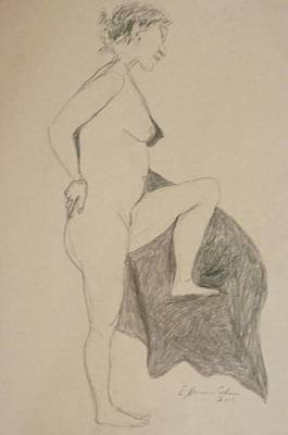 Drawing - Nude Leaning Over by Esther Newman-Cohen