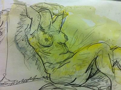 Aquarel Drawing - Nude by Lola Ben Alon