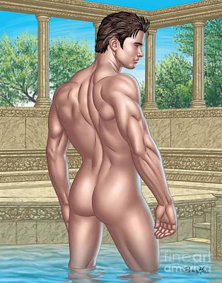 Roman Baths Mixed Media - Nude Male In Roman Bath  by Roman Hans