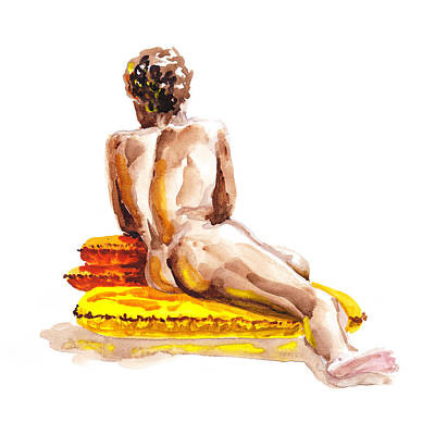 Nude Male Model Study Vi Art Print by Irina Sztukowski