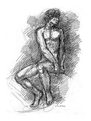 Nude Male Sketches 1 Art Print