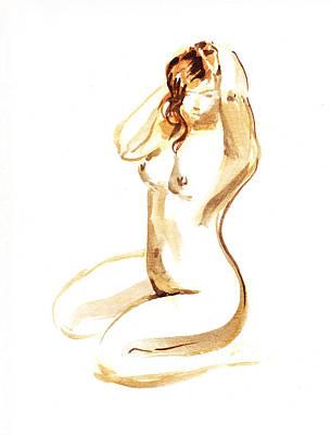 Nudes Paintings - Nude Model Gesture I by Irina Sztukowski
