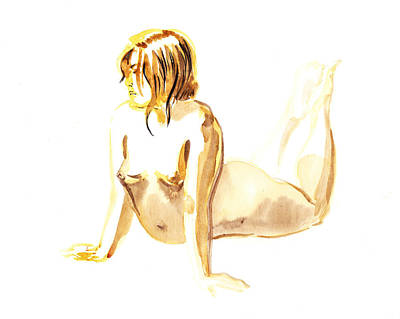 Abstract Realism Painting - Nude Model Gesture Iv by Irina Sztukowski