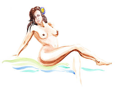 Nude Model Gesture Ix Hawaiian Breeze Art Print by Irina Sztukowski