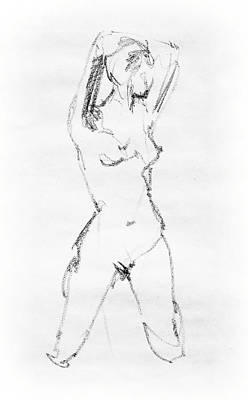 Pose Drawing - Nude Model Gesture Vii by Irina Sztukowski