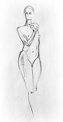 Abstract Shapes Drawing - Nude Model Gesture Viii by Irina Sztukowski