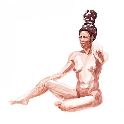 African American Woman Painting - Nude Model Gesture X by Irina Sztukowski