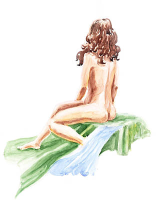 Nude Model Gesture Xii Blue River Art Print