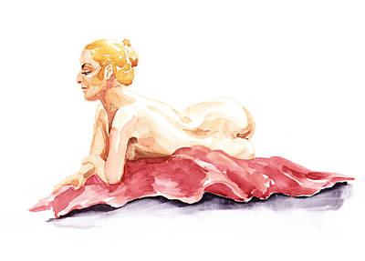 Nudes Paintings - Nude Model Gesture XIV Resting On Red by Irina Sztukowski