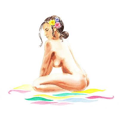 Nudes Paintings - Nude Model Gesture XVI Tropical Flower by Irina Sztukowski