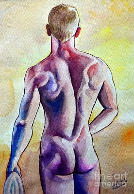 Nude Naked Muscle Male Back Art Print