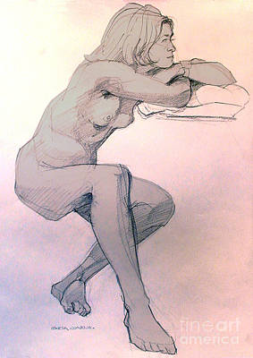 Drawing - Nude Of A Dreamy Young Woman by Greta Corens