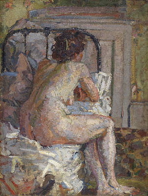 Camden Painting - Nude On A Bed, C.1914 by Harold Gilman