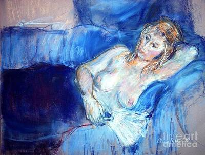 Drawing - Nude On A Blue Couch by Elaine Schloss