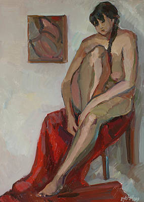 Painting - Nude On A Red by Juliya Zhukova