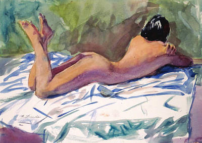 Painting - Nude On A White Sheet by Mark Lunde