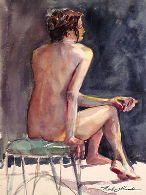 Painting - Nude On A Wire Stool by Mark Lunde