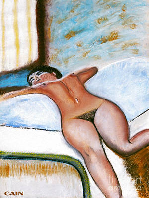 Painting - Nude On Bed Art Print by William Cain