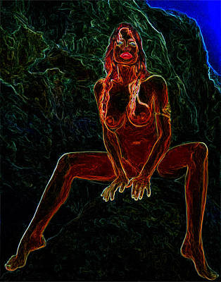 Nude On Rock Man Ray Homage Art Print by Brian King
