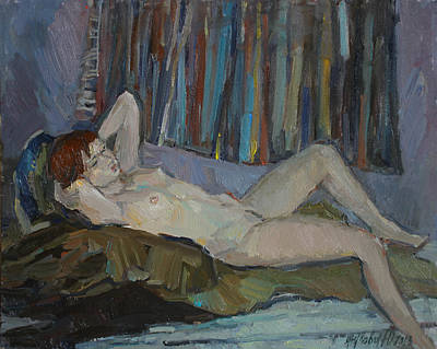Painting - Nude On The Bed by Juliya Zhukova