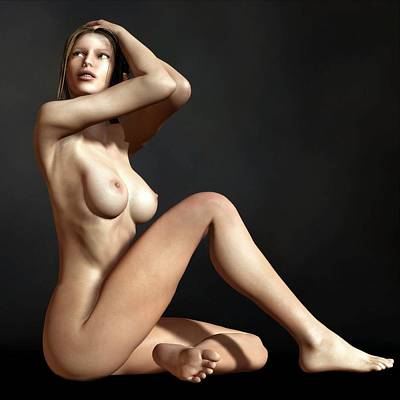 Digital Art - Nude On The Floor by Kaylee Mason
