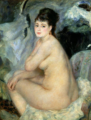 Make-up Painting - Nude Or Nude Seated On A Sofa 1876 by Pierre Auguste Renoir