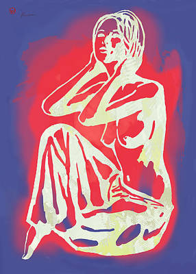 Saxophone Mixed Media - Nude - Pop Art Etching Poster 2 by Kim Wang