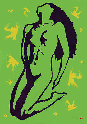 Saxophone Mixed Media - Nude - Pop Art Etching Poster 8 by Kim Wang
