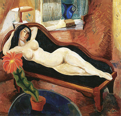 Nudes Royalty-Free and Rights-Managed Images - Nude Reclining by Marguerite Zorach