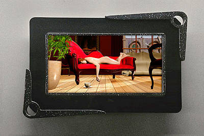 Nude Red Chaise 3d Lenticular Transparency Original