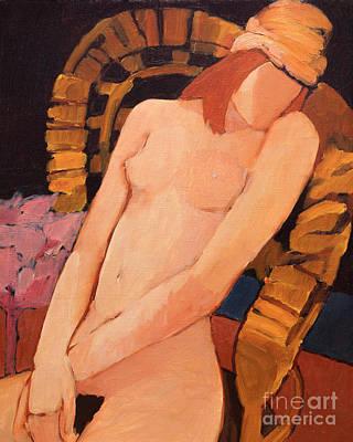 Painting - Nude Resting In An Armchair by Lutz Baar