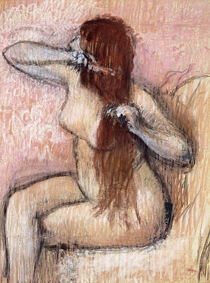 Nude Seated Woman Arranging Her Hair Femme Nu Assise Se Coiffant Art Print