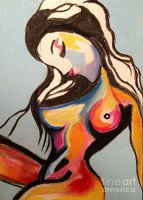 Boobies Drawing - Nude Sex Kitten Original Pastel  by Karen Larter