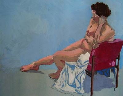 Nude Sitting In Red Chair Original by Mike Jory