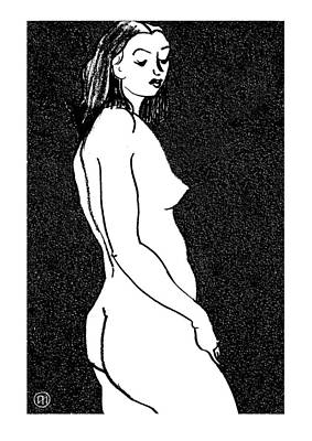 Nude Sketch 8 Art Print by Leonid Petrushin