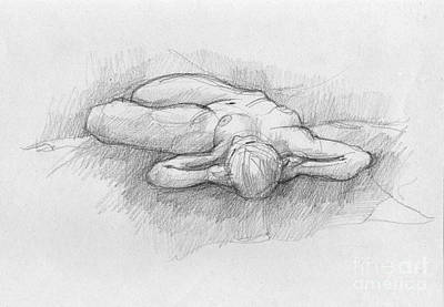 Hand Crafted Drawing - Nude Sketch Of Woman Lying by Peut Etre