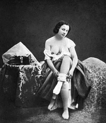 Photograph - Nude Undressing, C1850 by Granger